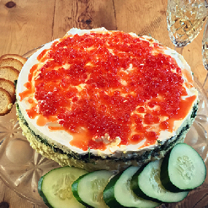 salmon roe on top of this easy-to-make, but oh-so-impressive-looking, caviar torte.
