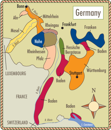 Wine Map Of Germany Winetrivia Fun With Food And Wine